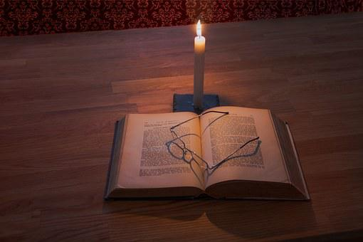 Education, Study, Glasses, Book, Letters, Candle