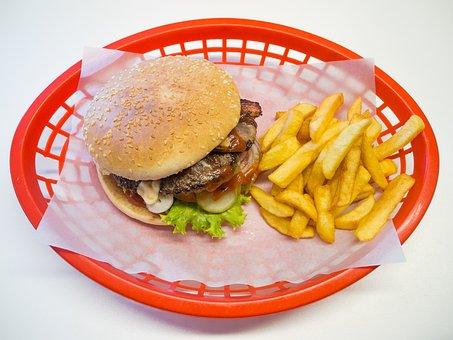 Hamburger, Burger, French, Junk Food, Eat, Snack