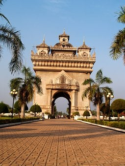 Gate, Wat Pha-that Luang, Vientiane, Laos, Monument