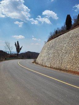 Blue Sky, White Cloud, Tree, Road, Lishan, Curve, Way
