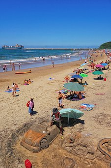 Durban, South Africa, Zulu, Sand Castle, Shipping, Port