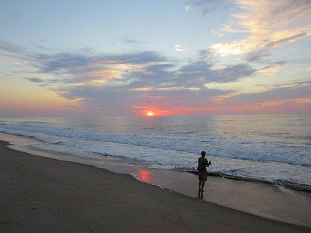 Fishing, Jersey Shore, Ocean, Surf, Fishing Pole