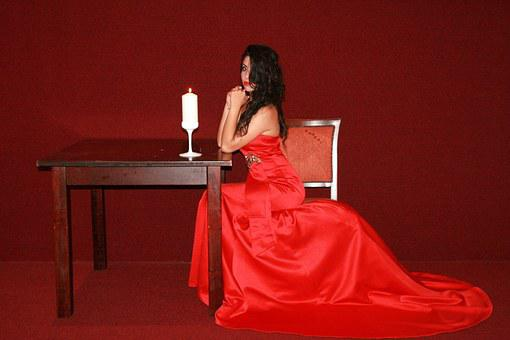 Girl, Dress, Red, Lady In Red, Table, Candle, Beauty