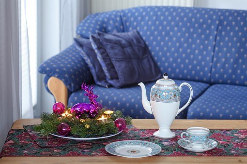 Sofa, Advent, Candle, Wedgewood, Violet