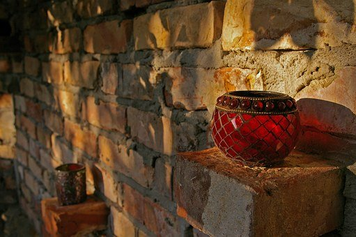 Windlight, Oriental, Stones, Wall, Wind Protection
