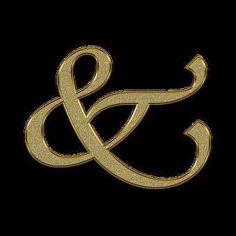 Ampersand, Ampersend, And, Sign, Golden, Symbol, Gold