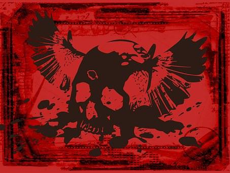 Skull, Red, Collage, Grunge, Rustic, Brush, Decorative