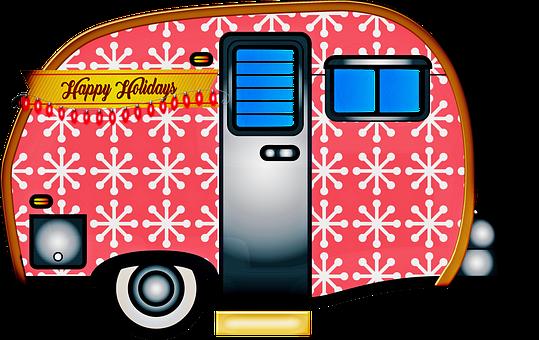 Christmas Travel Trailer, Christmas Caravan, Snowflakes