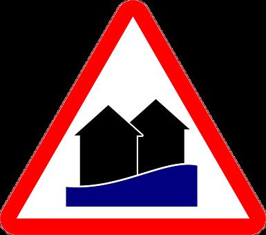 High Water, Warning, Flood, Shield, Disaster, Nature