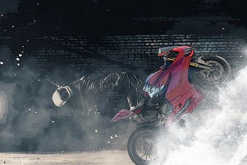 Imagination, Lifting, Motorcycle, Helmet, Wheelie, Wave