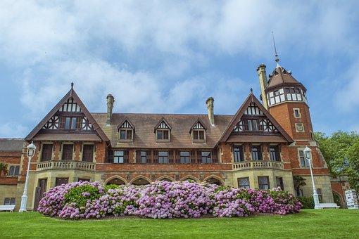 Landscape, Mansion, Flowers, Architecture, Sky, Clouds
