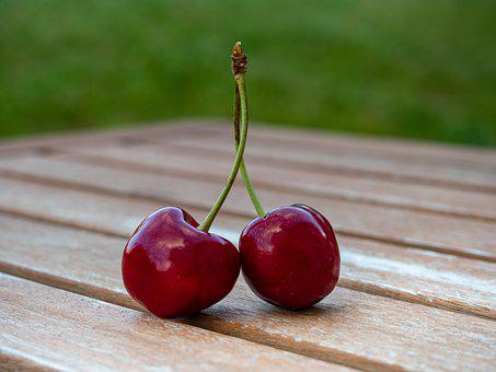 Cherries Couple Of, Pair, Cherry, Sweet, Food, Fruits