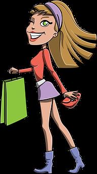 Girl, Shopping, Bag, Gift, Blonde, Long Hair, Skirt