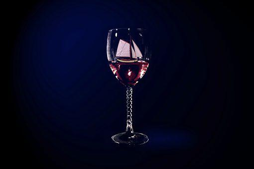 Wine, Glass, Red, Sailboat, Float, Black Wine