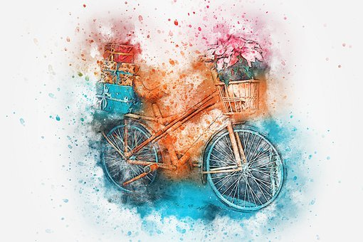 Bicycle, Flowers, Basket, Gift, Watercolor, Bike