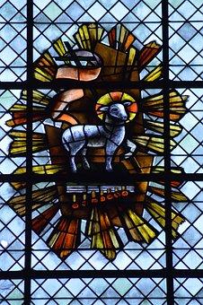 Stained Glass, Window, Church, Animal, Sheep, Lamb