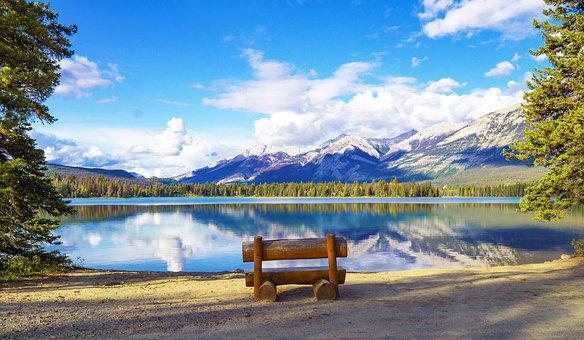 Summer Lake, Mountain Vacation, Bench, Reflection