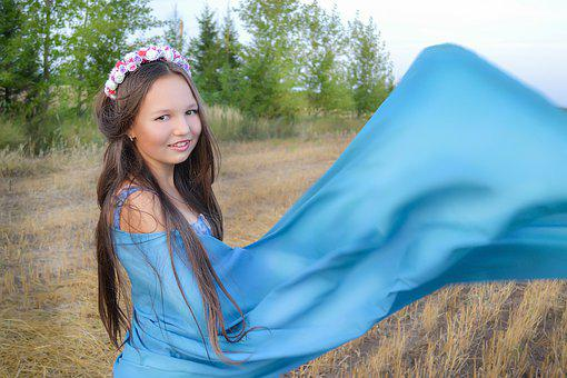 Girl, Field, Forest, Fabric, Blue, Smile, Beauty