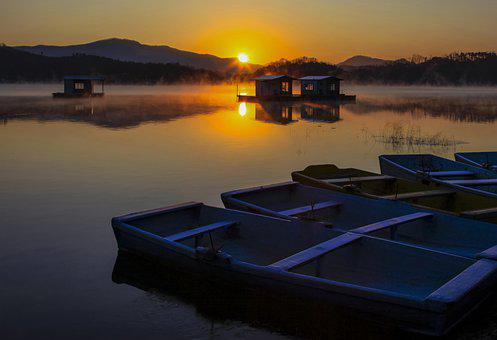 Nature, Winter, Landscape, Sunrise, Lake, Solar