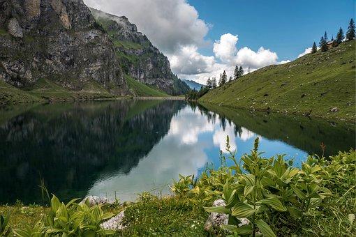 Bergsee, Reservoir, Landscape, Mountains