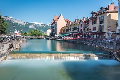 Annecy, Lake, Canal, Long Exposure, Nature, Mountains