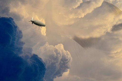 Cloud City, Journey, Zeppelin, Sky, Clouds, Steampunk