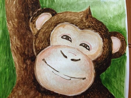 Watercolor, Painting, Drawing, Artistic, Paint, Monkey