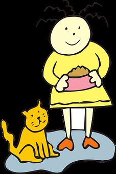 Cat, Food, Bowl, Girl, Child, Pet, Animal, Feeding
