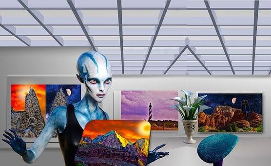 Futuristic Art Museum, Alien, Science Fiction, Fantasy