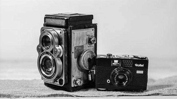 Camera, Photography, Black, White, Lens