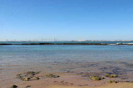 The Port Of Santa Maria, Landscape, Sea, Bridge