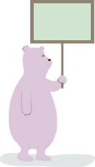 Bear, Banner, Sign, Ad, Mensaje, Tender, Animal, Teddy