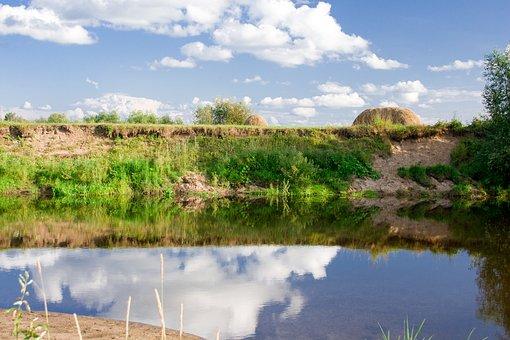 Summer, River, Sky, Reflection, Nature, Sun, Hay