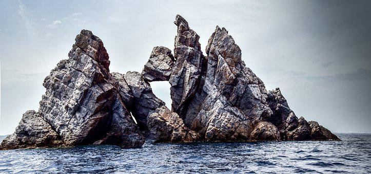 Rock, Sea, Ocean, Water, Sky, Cliff