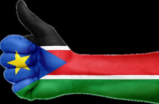 South Sudan, Flag, Hand, National, Fingers, Patriotic