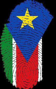 South Sudan, Flag, Fingerprint, Country, Pride