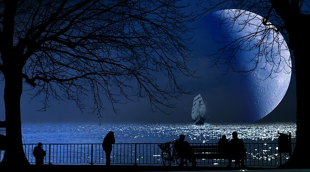 Fantasy, Moon, Lake, Water, Ship, Human, Look
