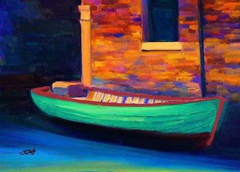 Boat, Digital Art, Art, Artwork, Landscape, Creative