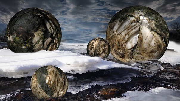 Balls, Stone, Snow, Ice, Sky, Water