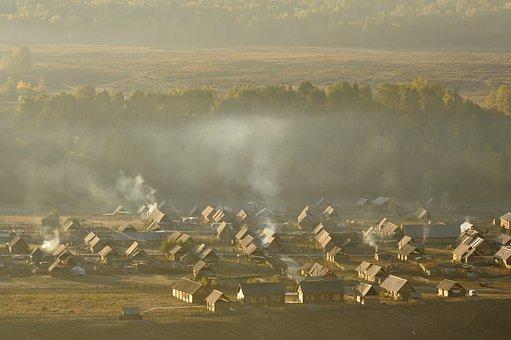 Cooking Smoke, Morning, Forest, Grassland, Wilderness