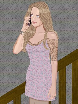 Pretty Woman, Stairway, Long Hair, Cell Phone