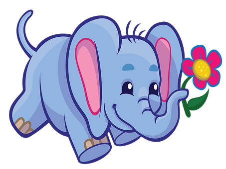 Elephant, Cartoon, Cute, Wildlife, Education, Colorful