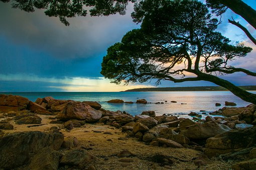 Landscape, Sunset, Sky, Water, Scenic, Scenery, Evening