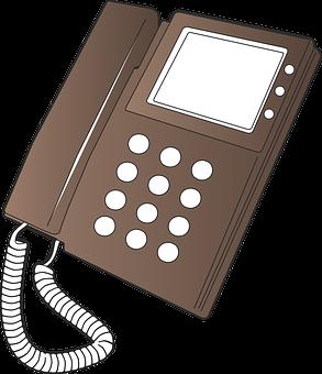 Intercom, Handset, Phone, Telephone, Video, Brown