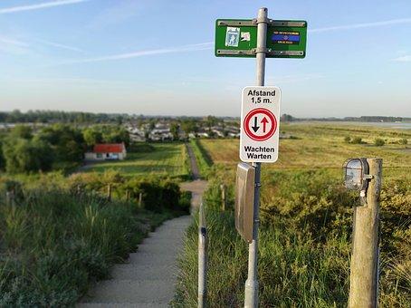 Corona, Netherlands, Dike, Stairs, Keep Your Distance