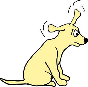 Agitated, Cartoon, Dog, Startled