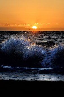 Sunset, Ocean, Sea, Beach, Sky, Water, Dusk, Evening