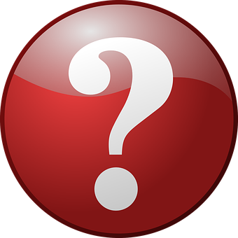 Question Mark, Button, Red, Round, Shiny