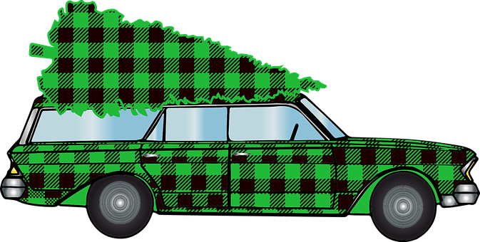 Woody Car, Christmas Car, Buffalo Plaid