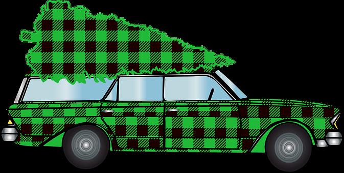 Woody Car, Christmas Car, Buffalo Plaid, Christmas Tree